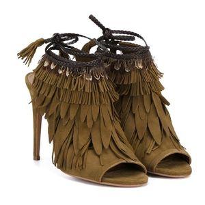 Aquazzura Pocahontas Suede Leather Tie Feather 6